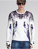 Men's Going out Sweatshirt Solid Striped Print Shirt Collar Micro-elastic Cotton Acrylic Polyester Long Sleeve Spring Fall Winter