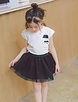 Girls' Solid Sets,Cotton Polyester Summer Sleeveless Clothing Set