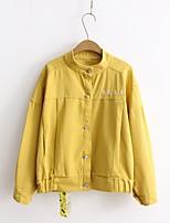 Feminino Jaqueta jeans Para Noite Casual Simples Primavera Outono,Sólido Estampa Colorida Letra Padrão Algodão Colarinho ChinêsManga