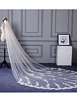 Свадебные вуали Один слой Фата до локтя Фата для венчания Обрезанная кромка Кружевная кромка Кружева Тюль
