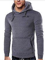 Men's Sports Casual/Daily Simple Hoodie Solid Hooded Micro-elastic Acrylic Long Sleeve Fall Winter