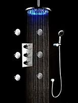 Современный Роскошь LED На стену Боковой кран Дождевая лейка Ручная лейка входит в комплект Настенное крепление with  Медный клапан Хром,