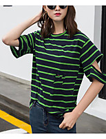 Women's Casual/Daily Simple Spring T-shirt,Striped Round Neck Short Sleeve Cotton Others