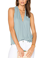 Women's Holiday Going out Club Sexy Simple Street chic Spring Summer H Back Tank TopSolid V Neck Sleeveless Ruched Medium