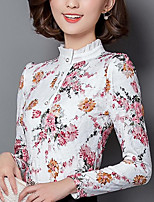 Women's Casual/Daily Simple Summer Fall Shirt,Print Shirt Collar Long Sleeve Others Medium