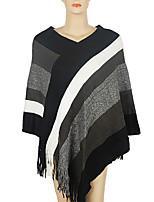Women Vintage Cloak Cape Bohemian Tassels Fringed Shawl Wrap Scarf Wool Acrylic Rectangle Striped Spring Fall Red/Black