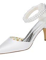 Для женщин Свадебная обувь Туфли лодочки Стретч-сатин Весна Лето Свадьба Для вечеринки / ужина Жемчуг На шпильке Белый 7 - 9,5 см