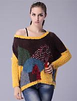 Для женщин На каждый день Простое Обычный Пуловер Однотонный С принтом Контрастных цветов,Круглый вырез Длинный рукавШерсть Хлопок