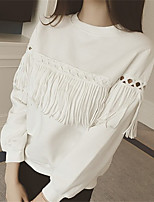 Women's Going out Casual/Daily Sexy Summer Fall Blouse,Solid Round Neck Long Sleeve Polyester Medium