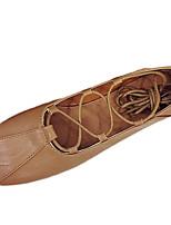 Для женщин На плокой подошве Удобная обувь Полиуретан Лето Повседневные Шнуровка На плоской подошве Черный Бежевый Темно-коричневыйНа