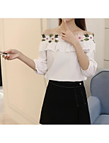 Women's Party Casual/Daily Cute Spring Shirt,Geometric Off Shoulder 3/4 Length Sleeve Cotton