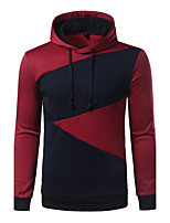 Men's Casual/Daily Simple Hoodie Color Block Patchwork Hooded Micro-elastic Cotton Polyester Long Sleeve Spring Fall