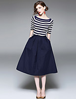 YHSPWomen's Going out Casual/Daily Simple Street chic Sophisticated Summer T-shirt Skirt SuitsStriped Round Neck Short Sleeve Micro-elastic