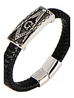 Муж. Мальчики Браслет цельное кольцо Браслет разомкнутое кольцо Кожаные браслеты Геометрический Мода Винтаж Панк По заказу покупателя