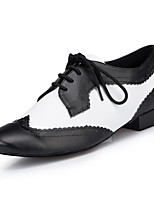Men's Latin Real Leather Heels Indoor/Professional Color Block Chunky Heel Black/White Under 1 Customizable