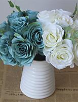 1 Rama Plástico Rosas Hortensias Flor de Mesa Flores Artificiales