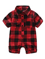 Baby Fashion Plaid/Check One-Pieces,100%Cotton Autumn/Fall Spring Short Sleeve