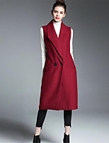 Для женщин На каждый день Осень Пальто Рубашечный воротник,Простой Однотонный С принтом Длинная Без рукавов,Шерсть