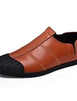 Для мужчин Мокасины и Свитер Удобная обувь Лето Осень Кожа Повседневные Комбинация материалов На плоской подошве Черный Коричневый На