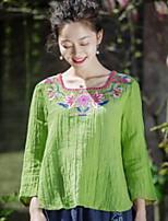 Damen Solide Stickerei Retro Chinoiserie Lässig/Alltäglich T-shirt,Quadratischer Ausschnitt Langarm Baumwolle Leinen