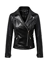 Для женщин Спорт На выход На каждый день Осень Зима Кожаные куртки Лацкан с тупым углом,Простой Уличный стиль Однотонный ОбычнаяДлинный