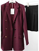 Women's Going out Casual/Daily Simple Spring Fall Suit,Solid Peaked Lapel Long Sleeve Regular Cotton