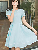 Women's Plus Size Skater Dress,Solid Round Neck Above Knee Short Sleeve Polyester Summer High Rise Inelastic Thin