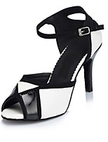 Women's Latin Leather Sandals Indoor Customized Heel Black/White