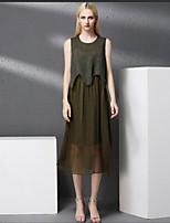 Для женщин На каждый день Оболочка Платье Однотонный Вышивка,Круглый вырез Средней длины Без рукавов Хлопок Осень Со стандартной талией