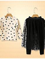 Ensembles Fille Pois Spandex Automne Ensemble de Vêtements