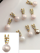 5PCS 14mmX6mm Fashion  Pearl Inlay  Alloy Accessories Nail Art Decoration Jewelry Charms