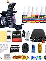 Beginner Tattoo Kit Machine color Ink Power supply Needles Grip Tattoo Supply TK105-50