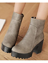 Women's Shoes PU Spring Fall Comfort Heels With For Casual Black Gray Yellow