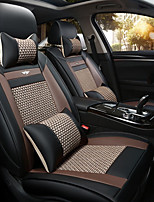 The New Car Seat Cushion Leather Seat Cover Four Seasons General Ice All Around Five Seats To 2 Seat Headrest Backrest Black Gray