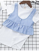 Girls' Stripes Sets,Cotton Polyester Summer Short Sleeve Clothing Set
