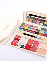 2 Blush Pó Compacto+Sombra para Olhos+Batons+Pau de Algodão de Maquiagem Pincéis de Maquiagem Brilho Cara Olhos Lábios