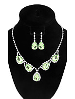 Women's Drop Earrings Necklace Emerald Fashion Adorable Elegant Rhinestone Jewelry Set For Wedding Engagement Ceremony Evening Party