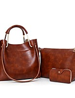 Women Bag Sets PU All Seasons Casual Baguette Zipper Brown Wine Gray Black