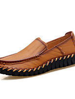 Men's Loafers & Slip-Ons Comfort Cowhide Spring Fall Casual Office & Career Party & Evening Flat Heel Dark Brown Brown Black Flat