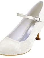 Feminino Sapatos De Casamento Plataforma Básica Cetim com Stretch Primavera Outono Casamento Festas & Noite Cristais Salto AgulhaBranco