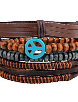 Men's Leather Bracelet Strand Bracelet Wrap Bracelet Handmade Vintage Adjustable Personalized Leather Wood Round Jewelry For Daily Casual