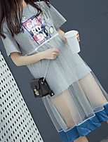 Mujer Simple Bonito Noche Casual/Diario Verano Camiseta,Escote Redondo Estampado Manga Corta Algodón Fino Medio