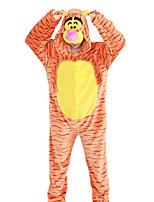 Кигуруми Пижамы Tiger Фестиваль / праздник Нижнее и ночное белье животных Хэллоуин Полоски Животные принты Вышивка ФланельКосплэй Kостюмы