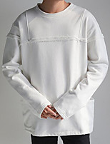Men's Casual/Daily Sweatshirt Solid Round Neck Inelastic Acrylic Long Sleeve Spring