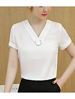Women's Casual/Daily Cute Summer T-shirt,Solid V Neck Short Sleeve Cotton