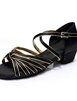 Women's Latin Silk Flats Indoor Buckle Customized Heel Black/Gold Customizable