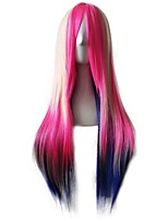 Halloween Cosplay Party Wig Harajuku Style Long Mulit Color Mixed Synthetic Wig Heat Resistant