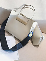Women Bags All Seasons PU Bag Set with for Casual White