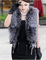 Women's Casual/Daily Street chic Fall Winter Fur CoatSolid V Neck Sleeveless Regular Short Faux Fur Vest