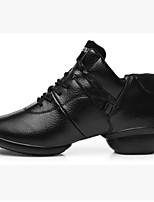 Для женщин Танцевальные кроссовки Полиуретан С цельной подошвой Учебный На низком каблуке Черный Красный Менее 2,5 см